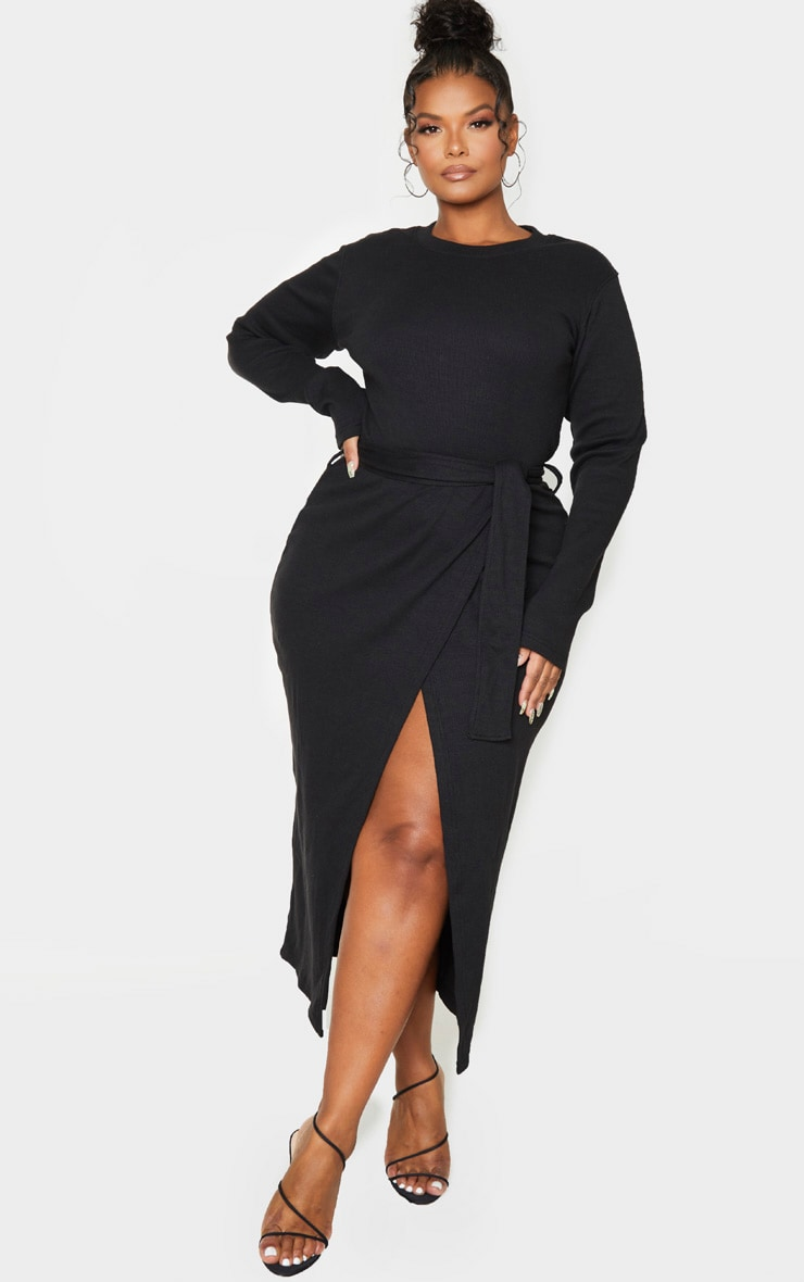 Plus Black Thick Rib Tie Waist Wrap Midi Dress 1