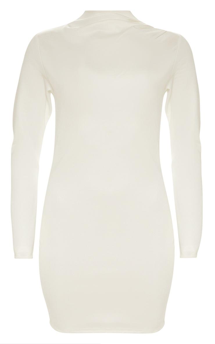 Seconde Peau Plus - Robe moulante blanche plissée à col haut 3