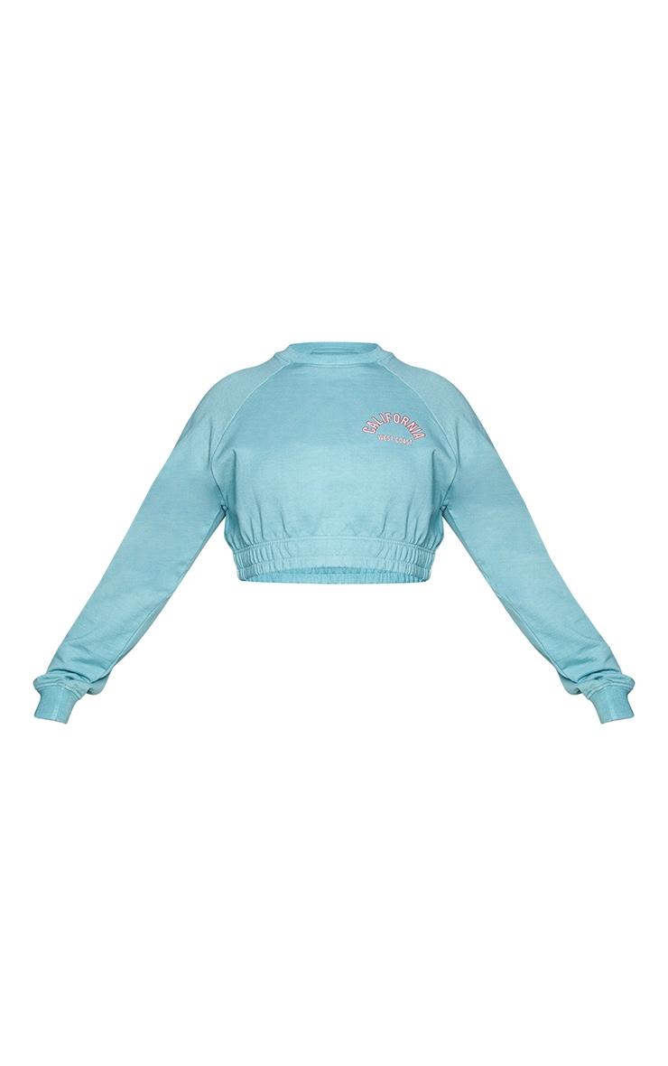 Plus Teal California Print Sweatshirt 5