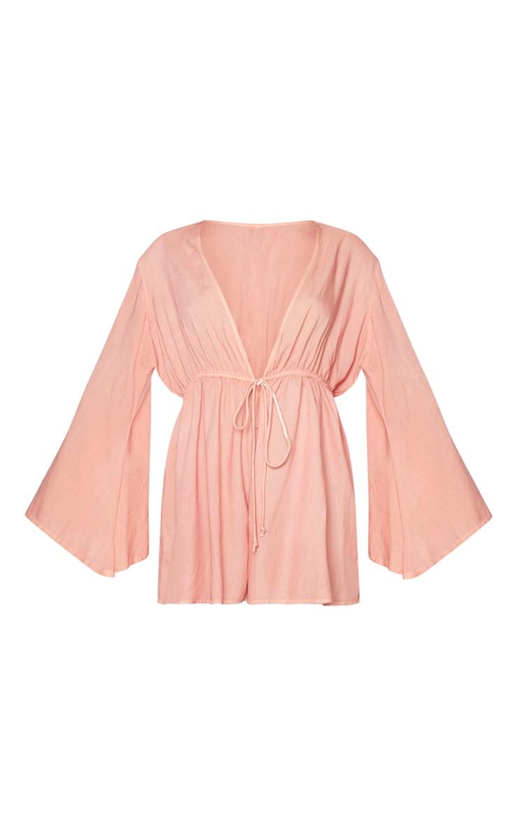 Pink Tie Waist Plunge Beach Romper 5