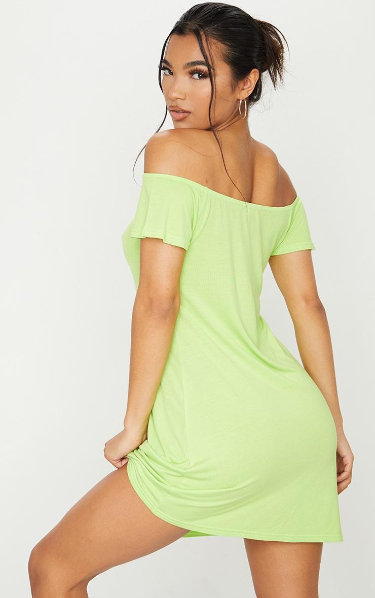Lime Jersey Bardot Shift Dress 2