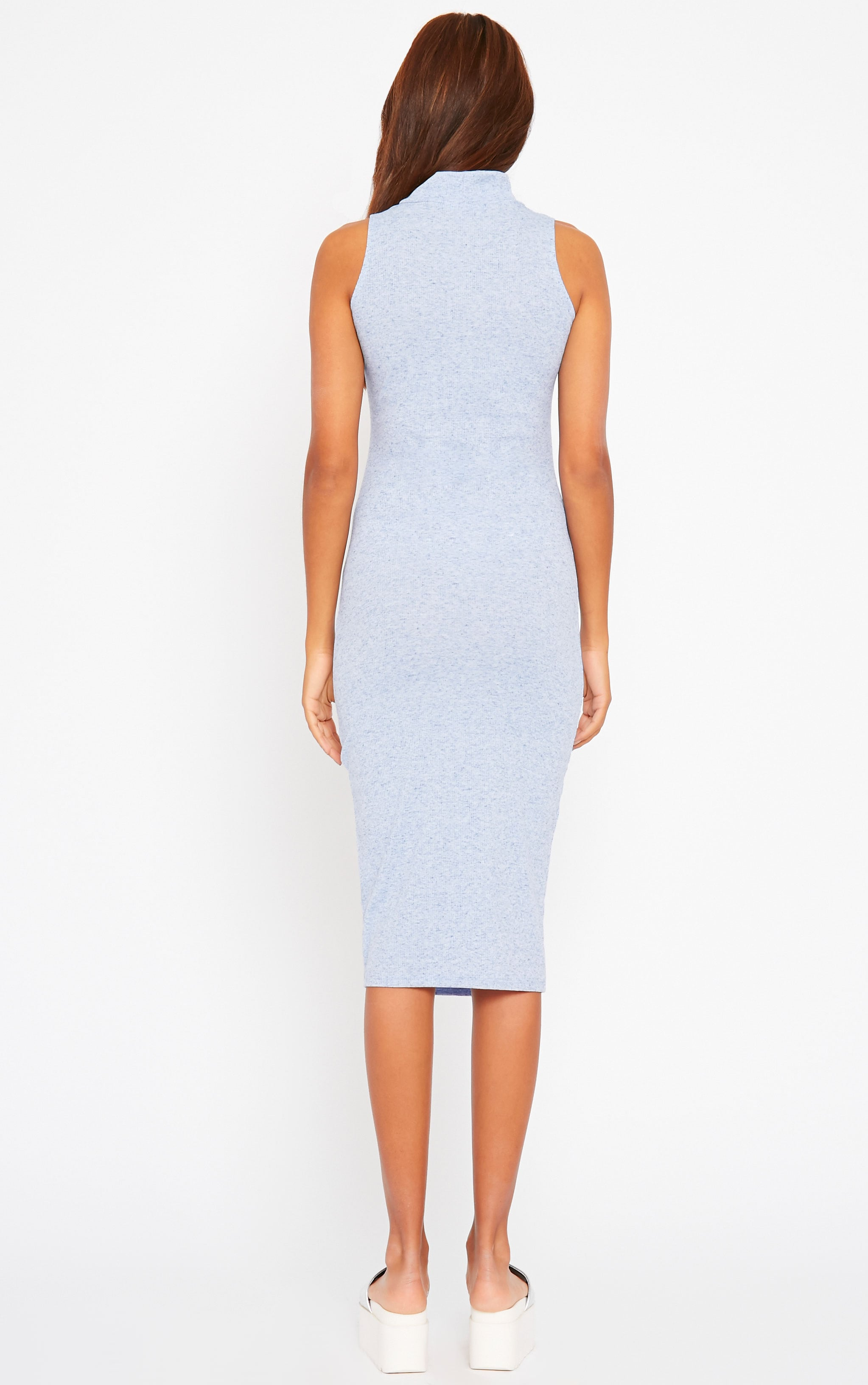 Basic Blue High Neck Dress 2