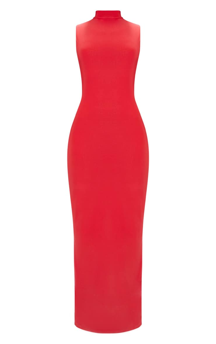 Red Slinky Cut Out Back Maxi Dress 3
