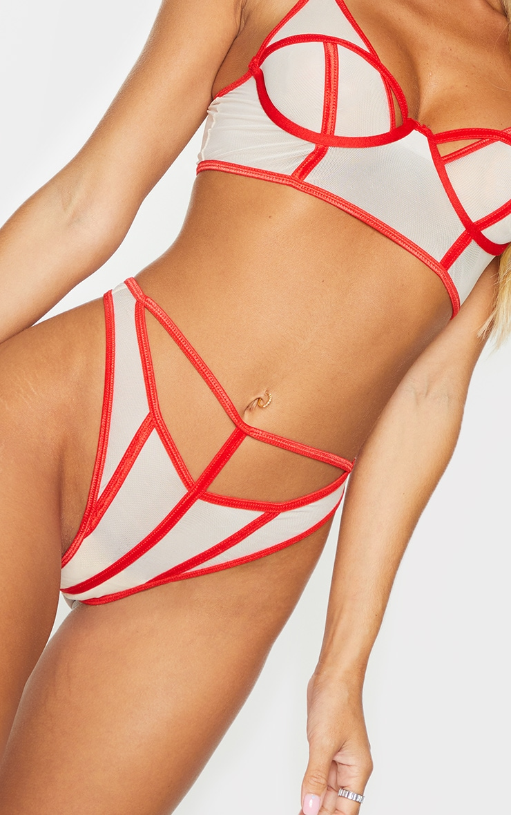 Red Contrast Binding Detail Cut Out Mesh Thong 4