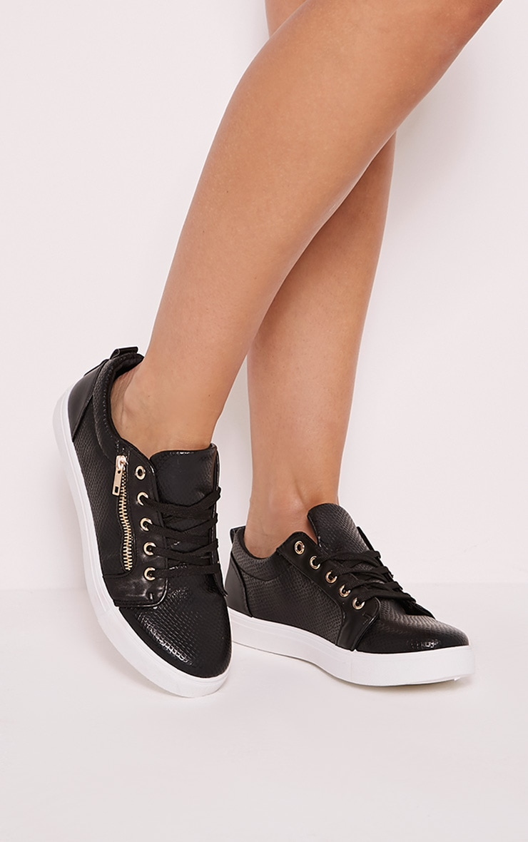 Rio Black Casual Zip Detail Trainers 1