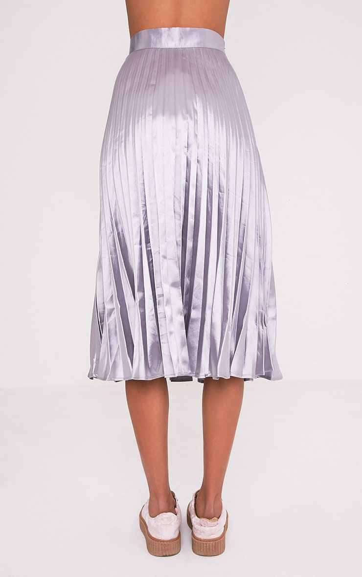 Harmonia Grey Satin Pleated Midi Skirt 5