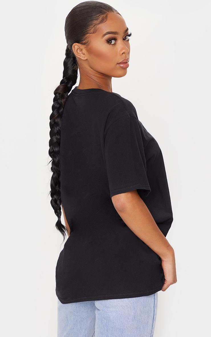 PRETTYLITTLETHING Black Overlay Printed T Shirt 2
