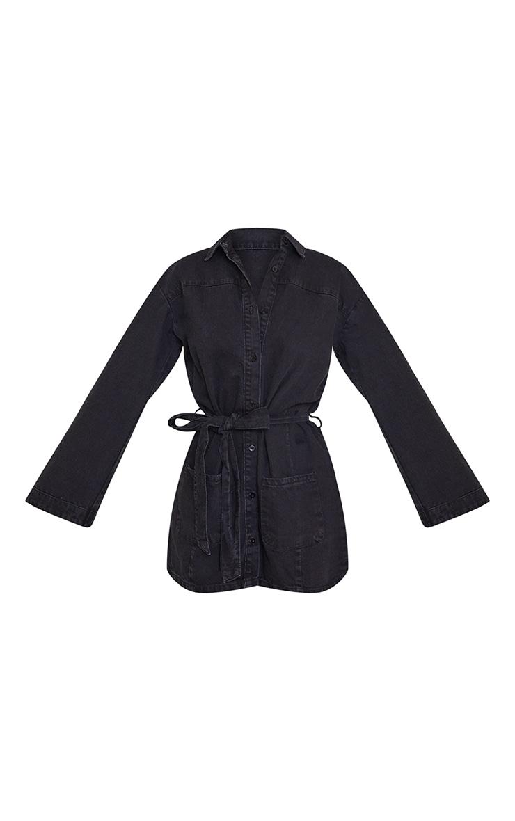 Washed Black Bell Sleeve Tie Waist Denim Dress 5
