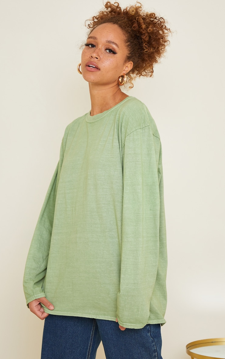 Sage Green LA Oversized Long Sleeve T Shirt 2