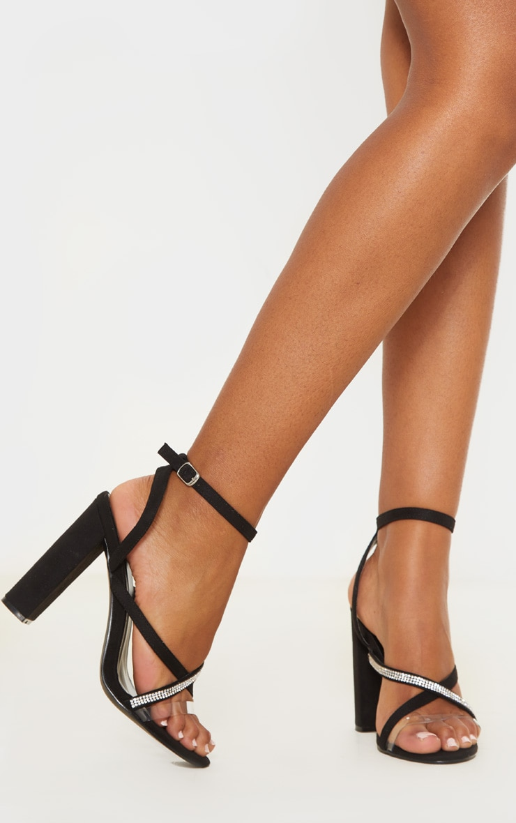 Black Asymmetric Diamante Block Heel Sandal 2