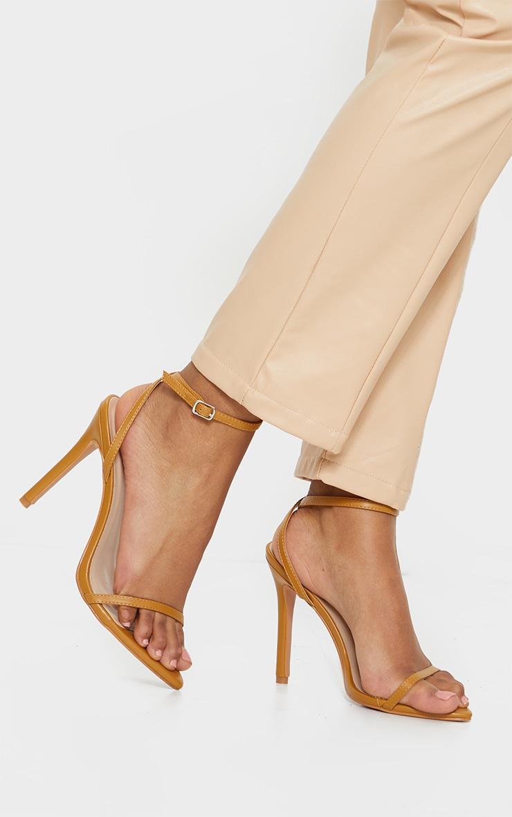 Camel Ankle Strap Angled Toe Heels 2