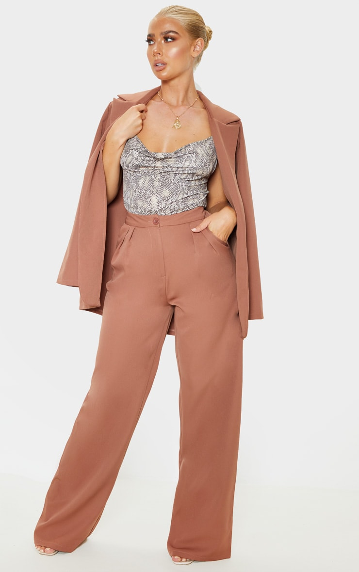 Taupe Woven Wide Leg Pants 1