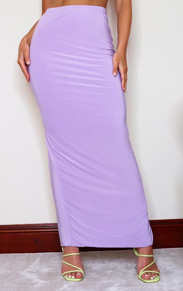 Jupe longue slinky lilas fendue à l'arrière 2