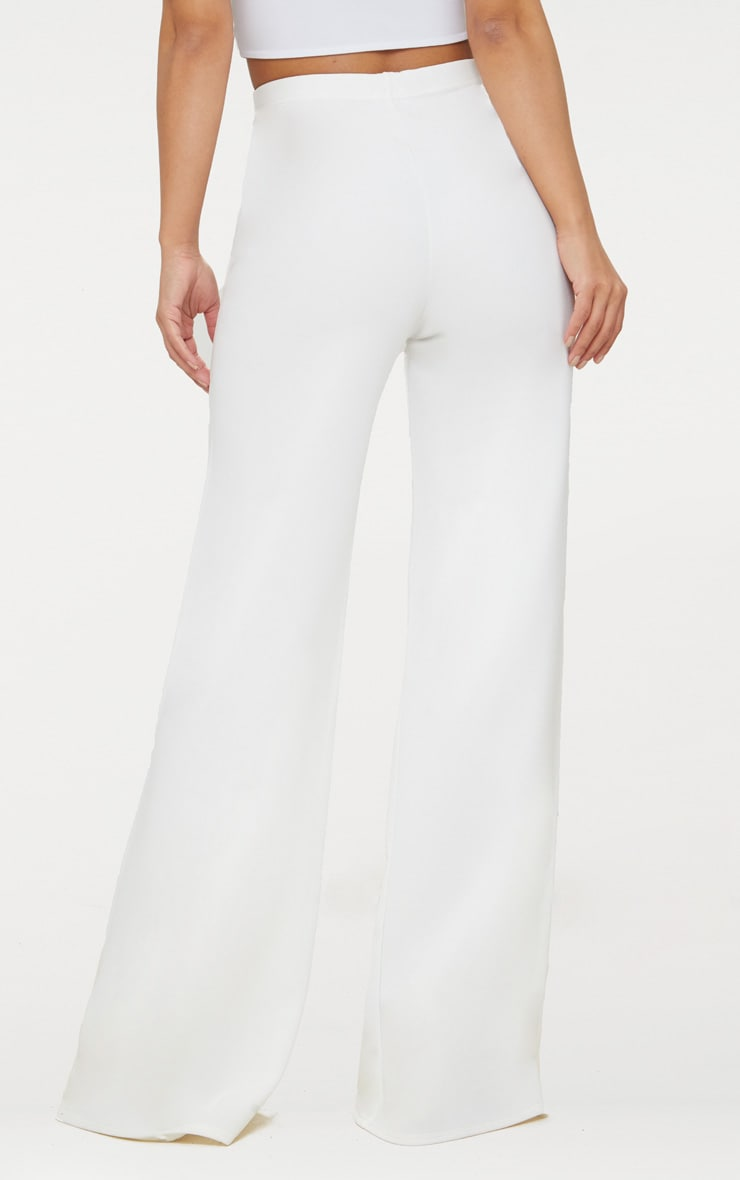 Petite White Military Button Wide Leg Trousers 4