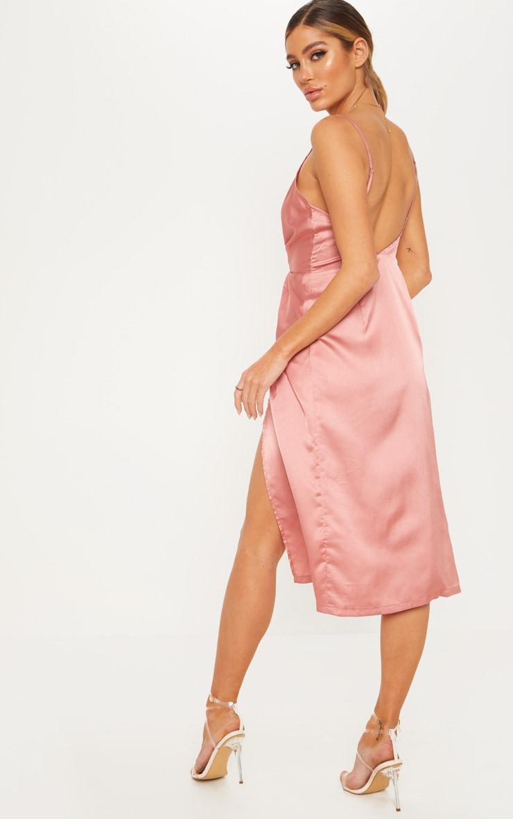 Rose Satin Twist Detail Midi Dress 2