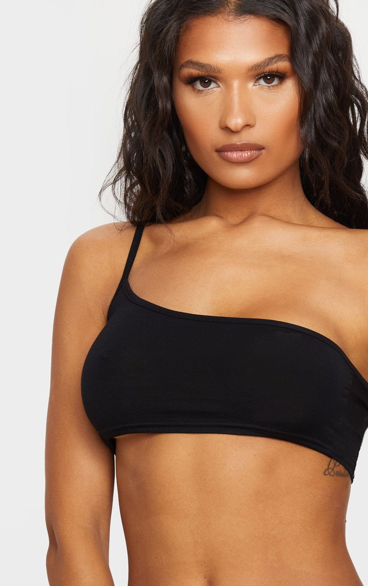 Basic Black One Shoulder Strappy Crop Top 4