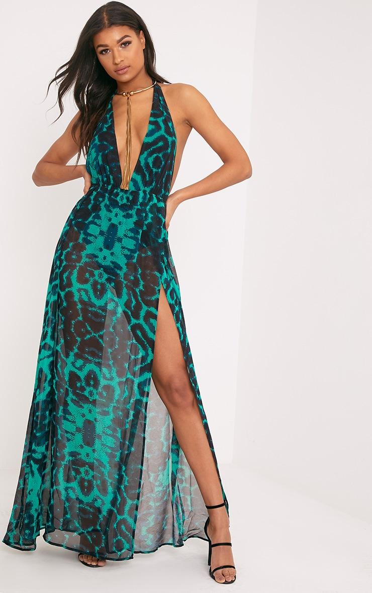 Alina robe maxi verte décolleté plongeant imprimé léopard 1