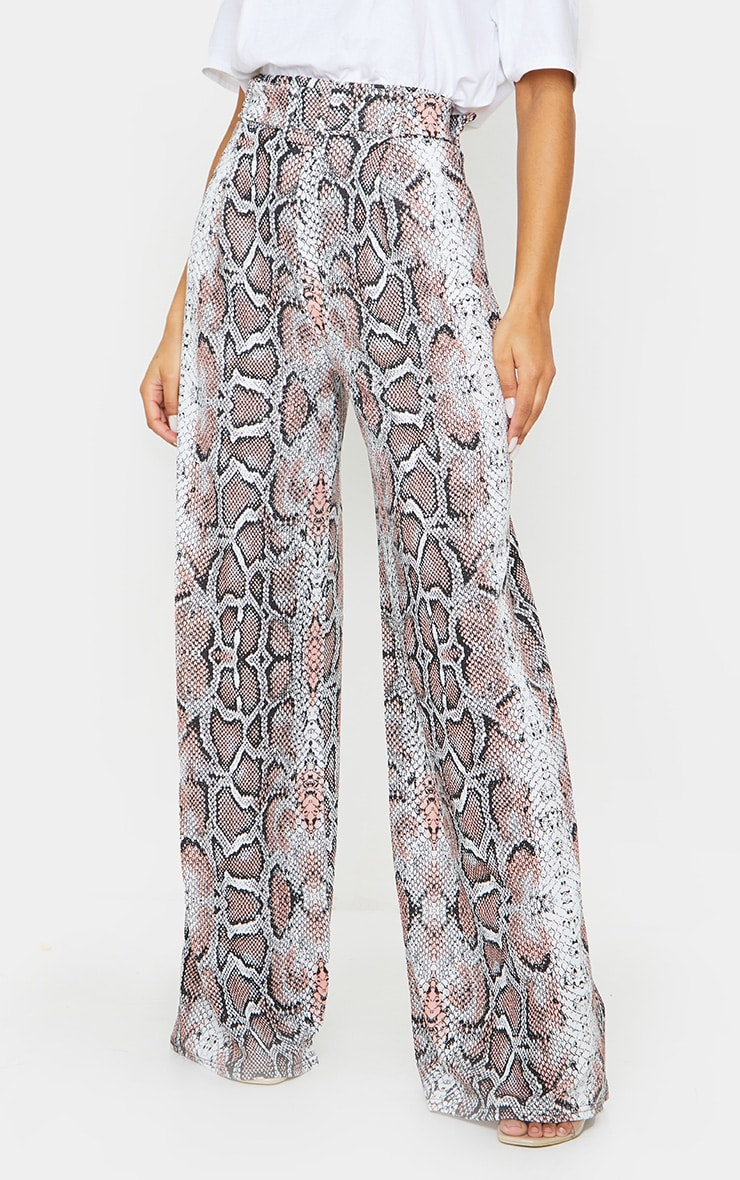 White Snake Belted Wide Leg Trousers 2