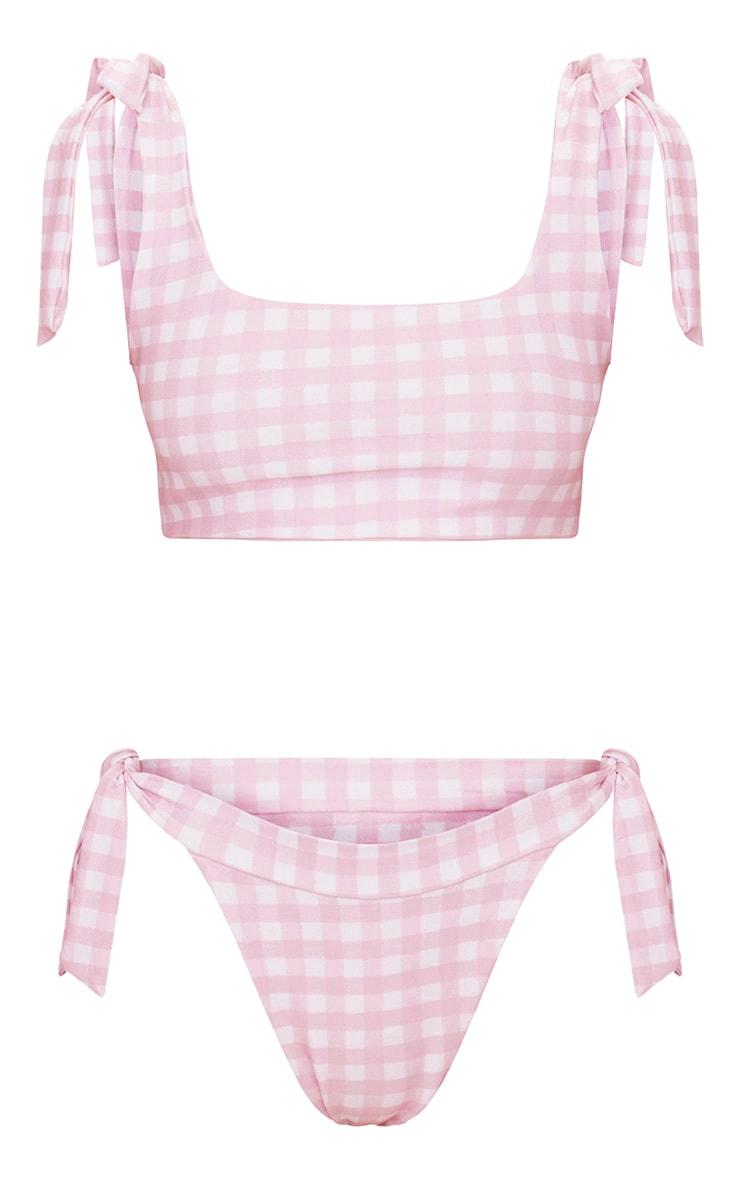 Bas de bikini échancré noué sur le côté vichy rose bébé 3