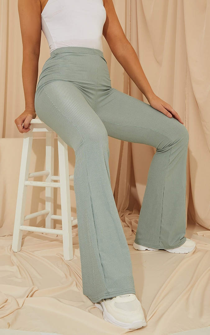 Dark Mint Shiny Rib Flared Pants 1