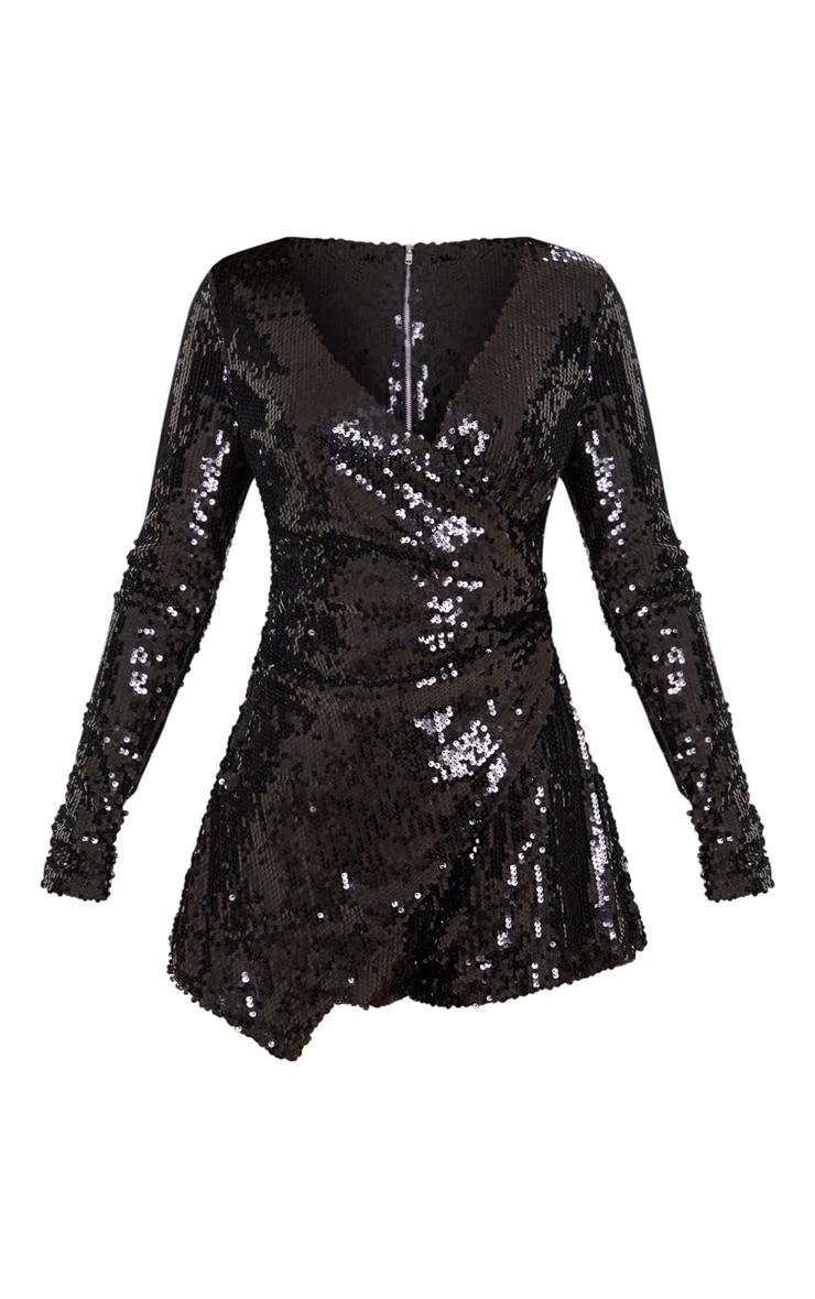 Black Sequin Long Sleeve Wrap Playsuit 3