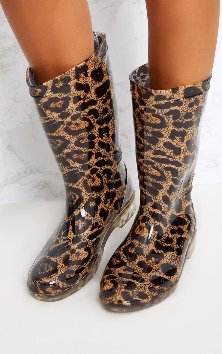 Brown Leopard Print Short Wellies 2