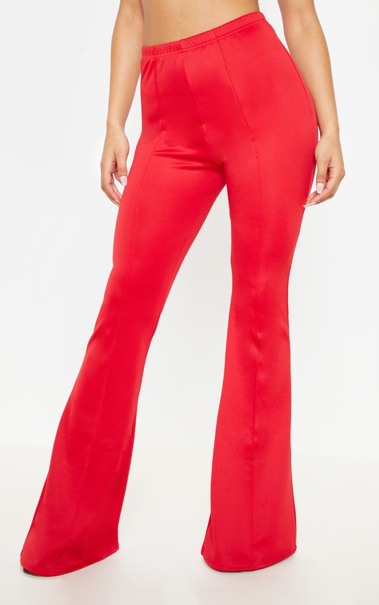Red High Waist Extreme Flare Long Leg Trousers 2