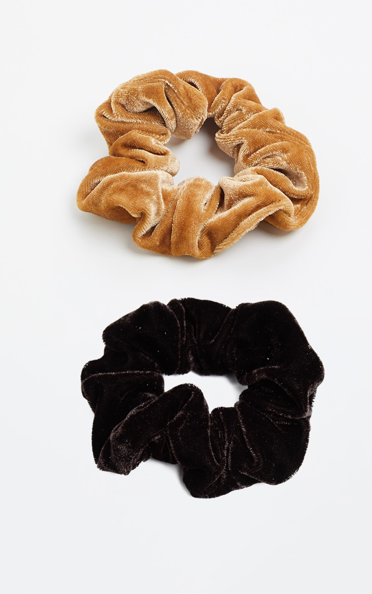 Tan And Chocolate Velvet Scrunchie Two Pack