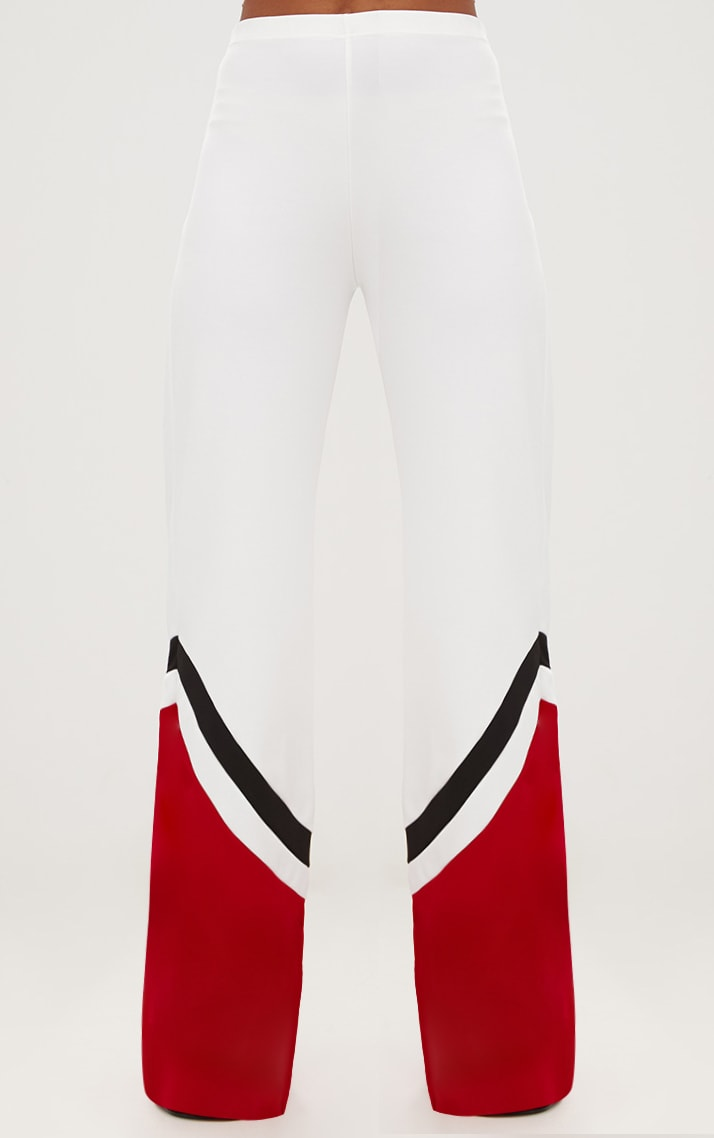 White Wide Leg Track Hem Trousers 2