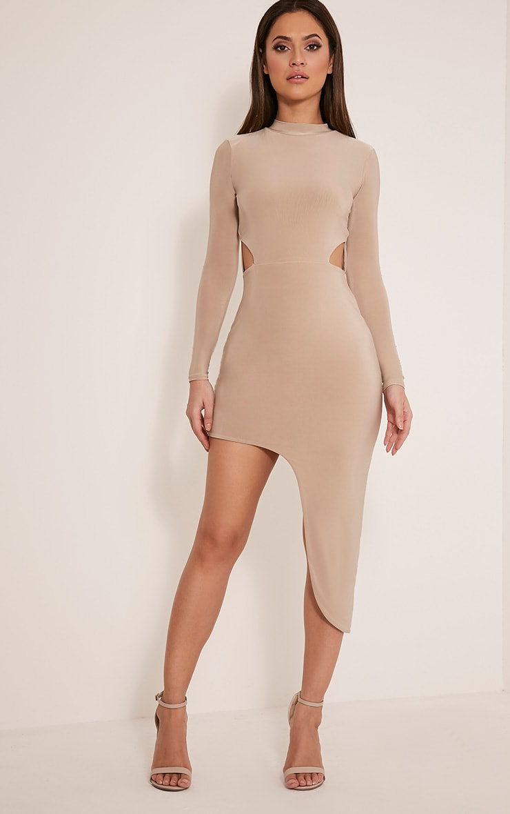 Avia Nude Cut Out Asymmetric Midi Dress 1