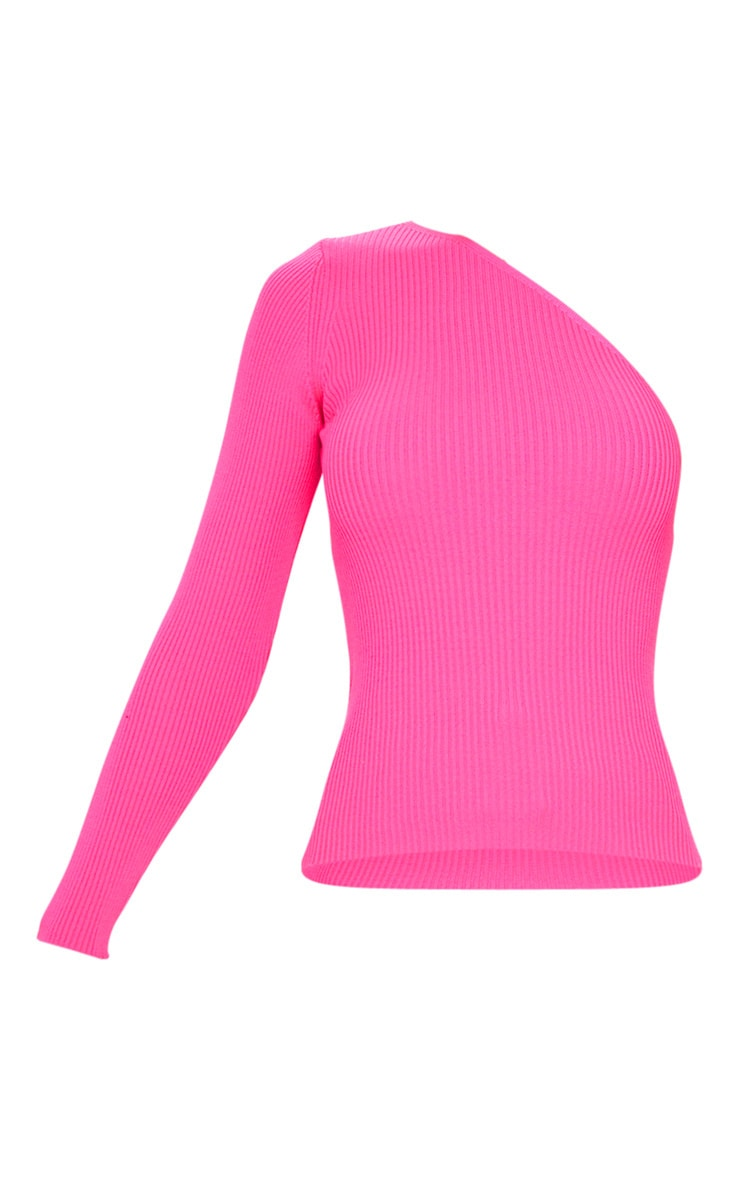 Hot Pink Asymmetric One Sleeve Knitted Rib Top 5