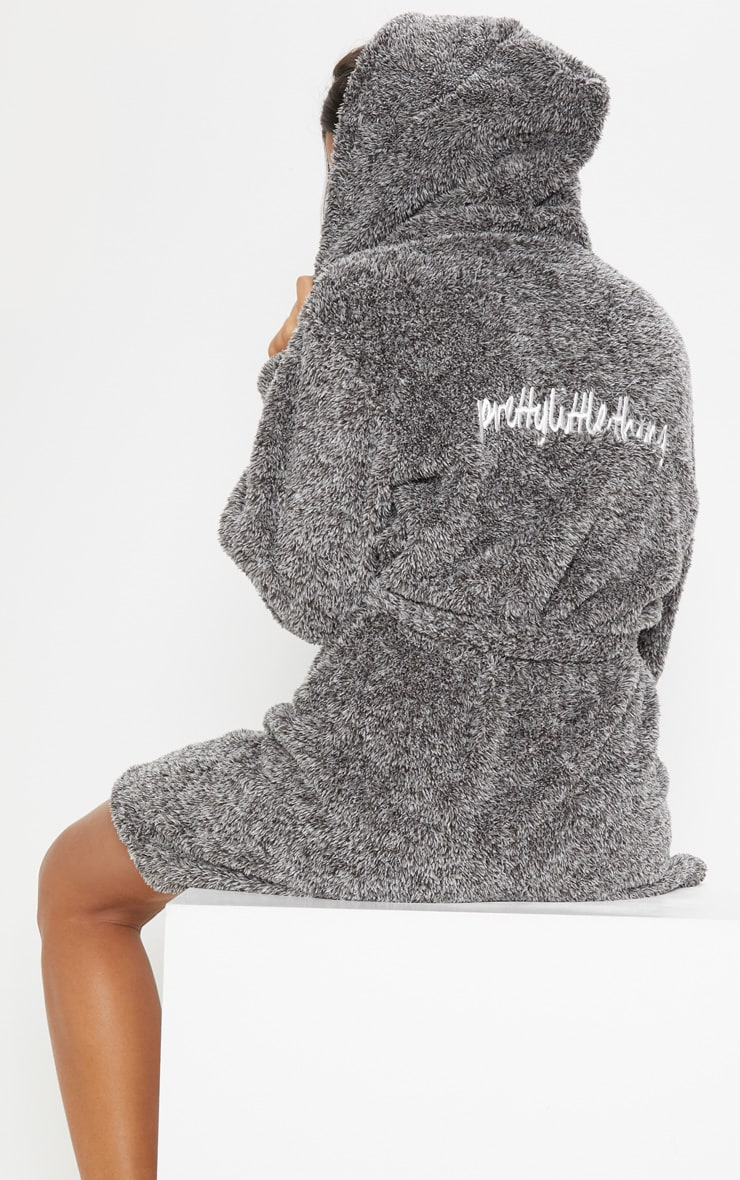 PRETTYLITTLETHING Charcoal Fluffy Dressing Gown 5