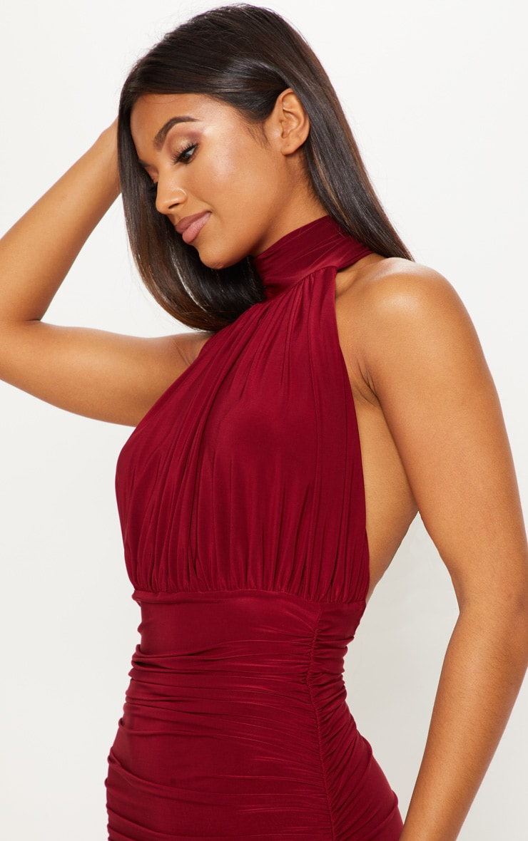 Maroon Slinky High Neck Ruched Side Dress 5