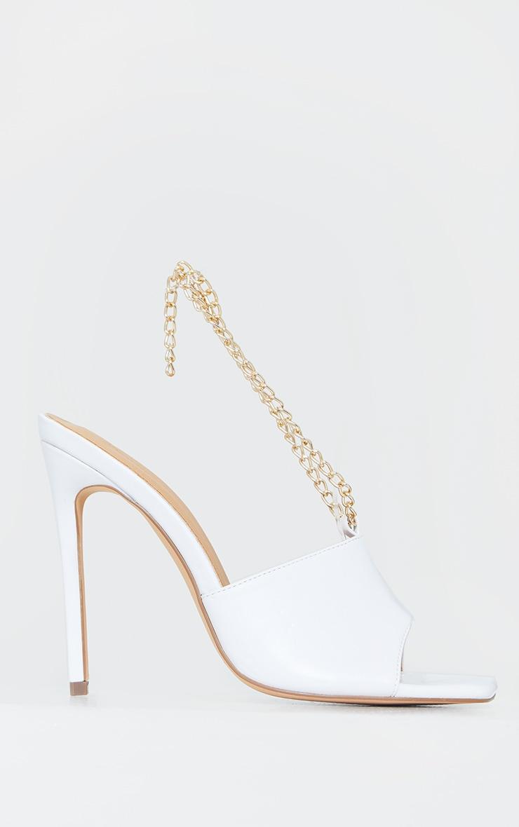 White Chain Sling Back Square Toe Mule Heels 3