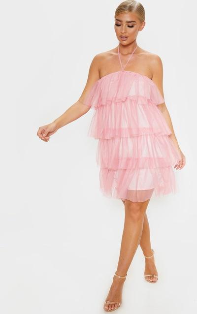 Dusty Pink Halterneck Mesh Layered Shift Dress