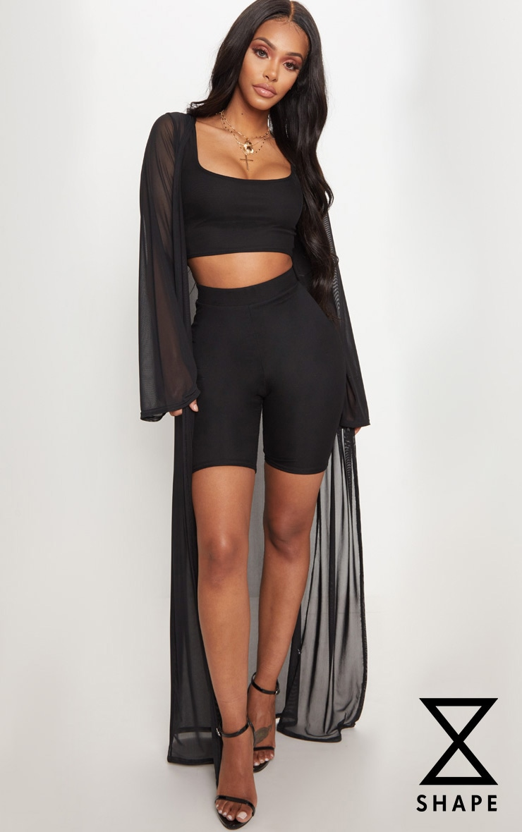 Shape Black Sheer Mesh Maxi Duster Jacket 1