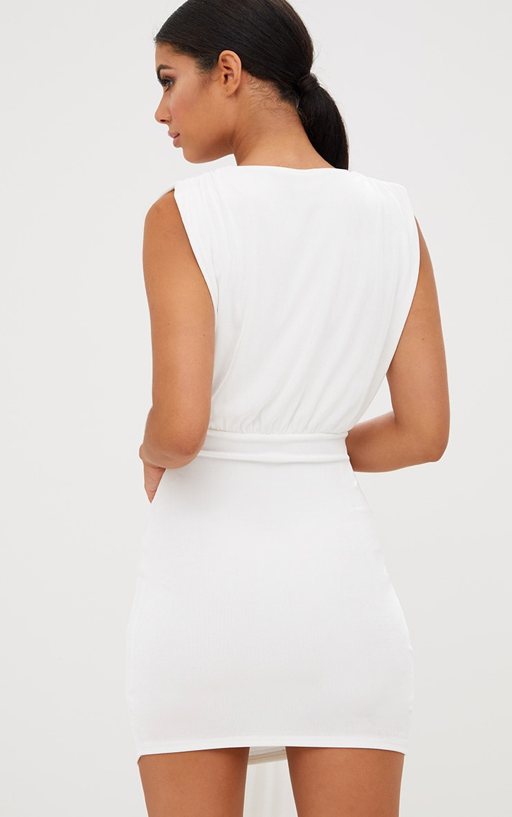White Plunge Neckline Drape Detail Bodycon Dress 3