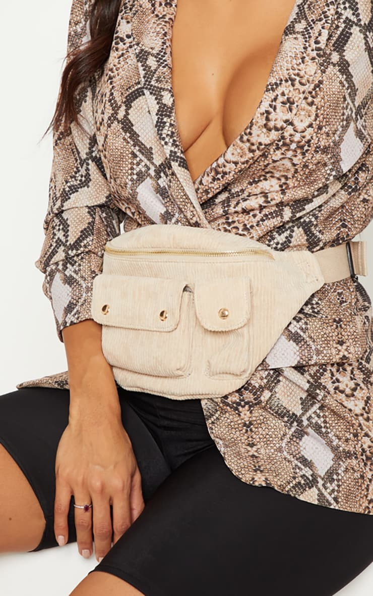 Cream Corduroy Double Pocket Fanny Pack