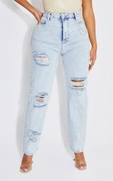 Shape Acid Blue Wash Chain Detail Ripped Bum Straight Leg Jeans 2