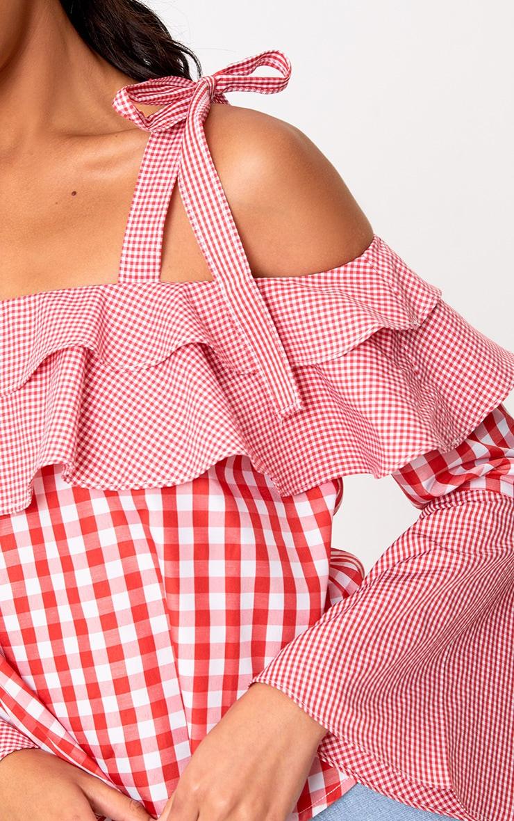 Red Mixed Gingham Bardot Frill Shirt 5