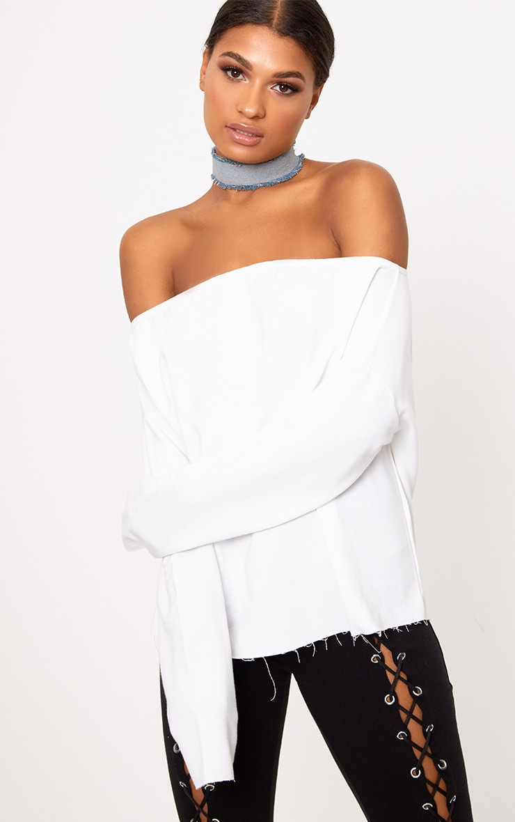 White Bardot Raw Edge Sweater 1