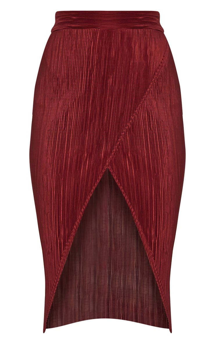 Leola Burgundy Pleated Wrap Midi Skirt 3
