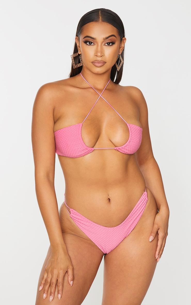 Pink Waffle Texture Halterneck Bikini Top 1