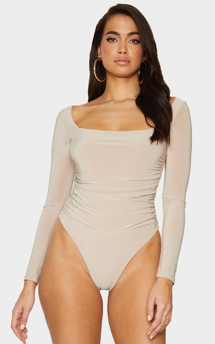 Stone Slinky Ruched Long Sleeve Square Neck Bodysuit 2