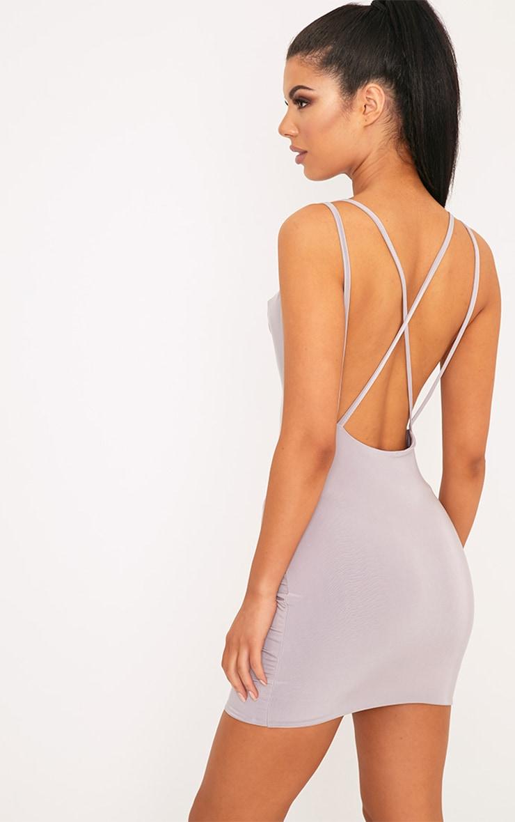 Eleonora Lilac Grey Strappy Back Cowl Neck Bodycon Dress 1