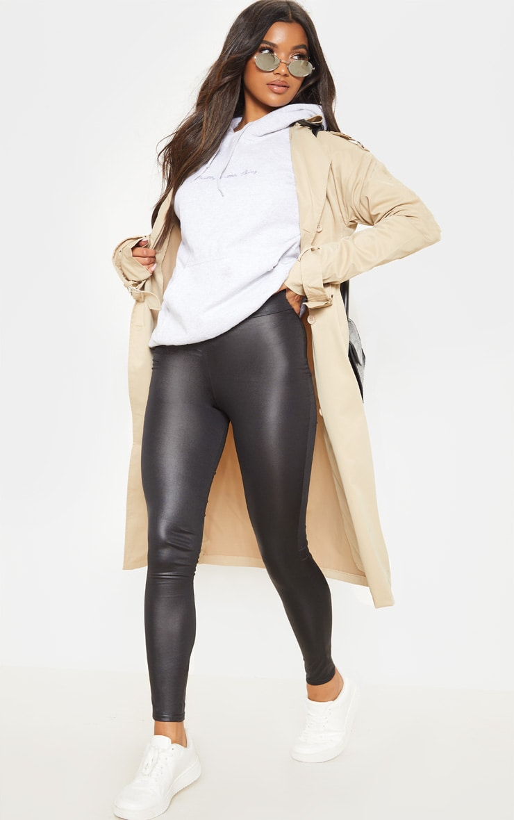 Tiana Black Wet Look Leggings 1