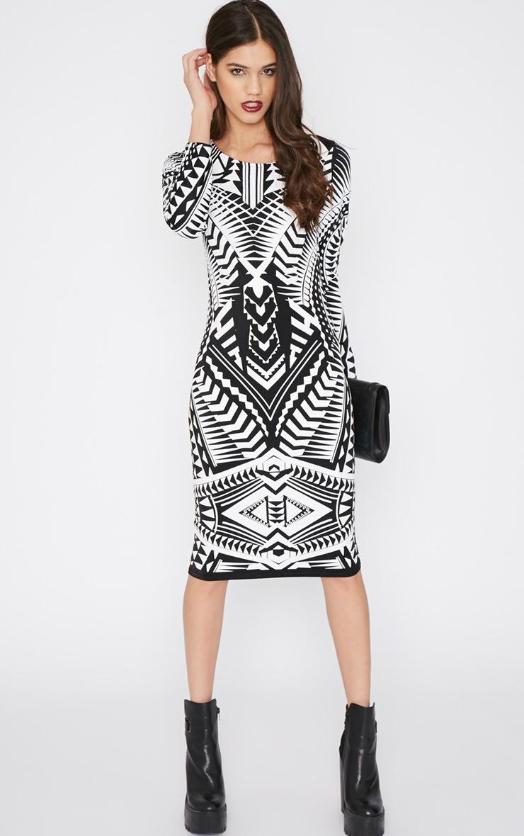 Elodie Black Aztec Glitter Print Midi Dress 3