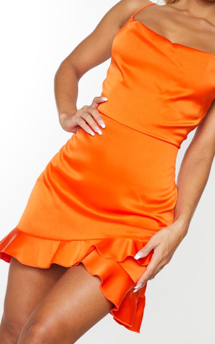 Orange Hammered Satin Frill Hem Detail Strappy Bodycon Dress 4