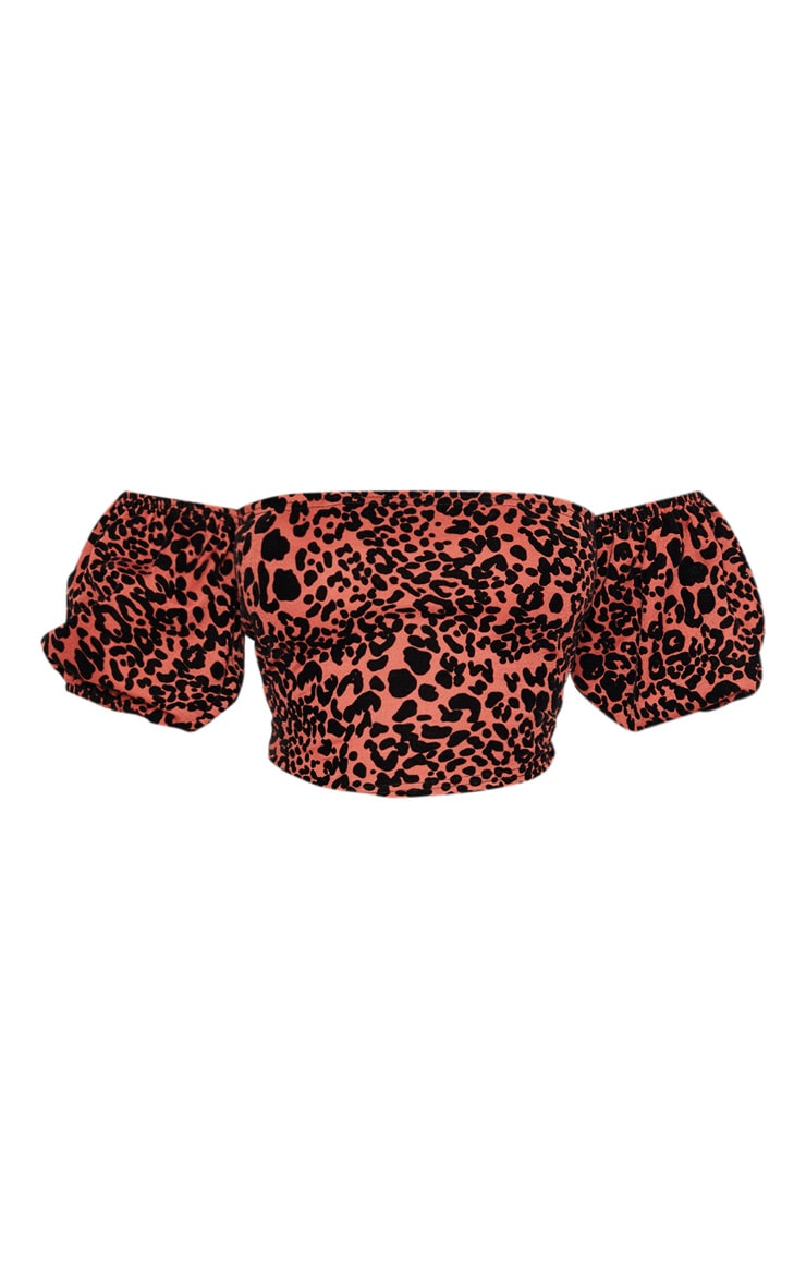 Orange Velvet Leopard Bardot Top  3