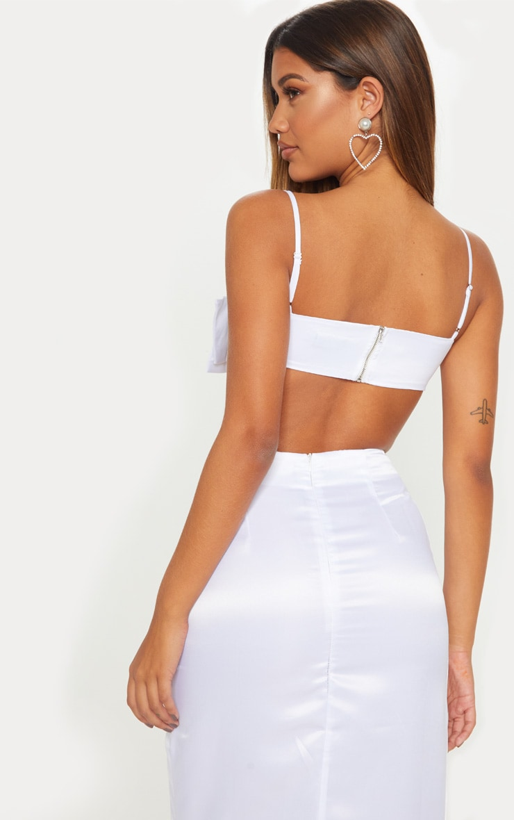 White Woven Bow Front Square Neck Crop Top 2
